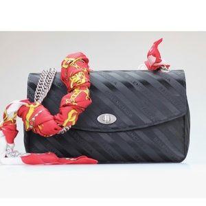 Balenciaga Lock Round Satin Scarf Shoulder Bag
